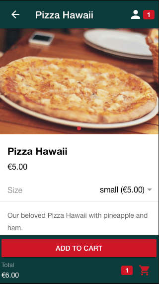 Product variations for ordering pizza in different sizes