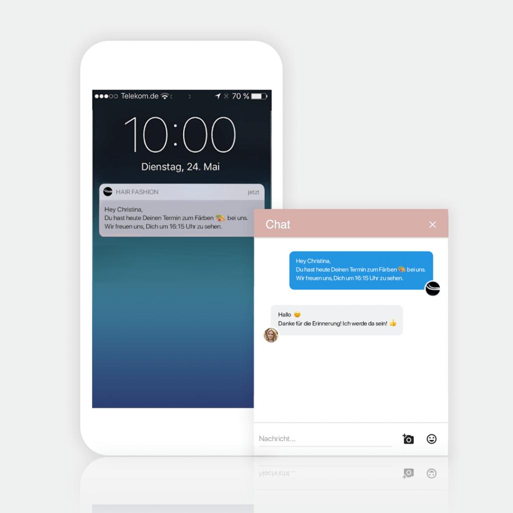 Eine Terminerinnerung per Push- und Chat Nachricht über Deine eigene Terminbuchung App versenden
