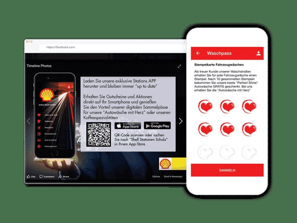 Shell Scholz nutzt die digitale Stempelkarte für Kunden und Autofahrer