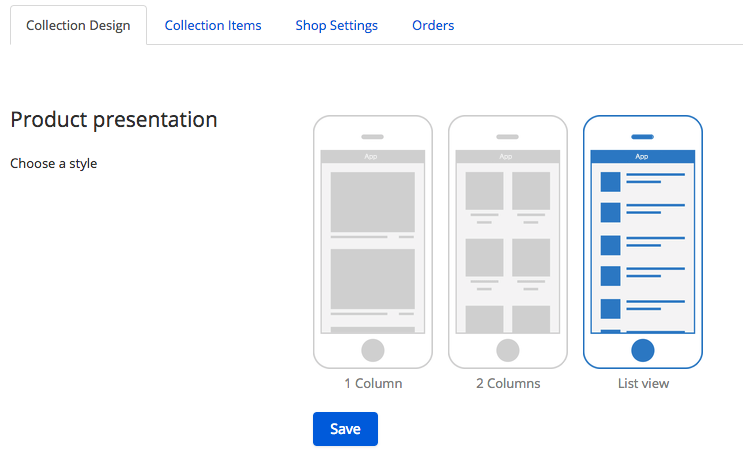 The shop module contains the collection design for your shop module
