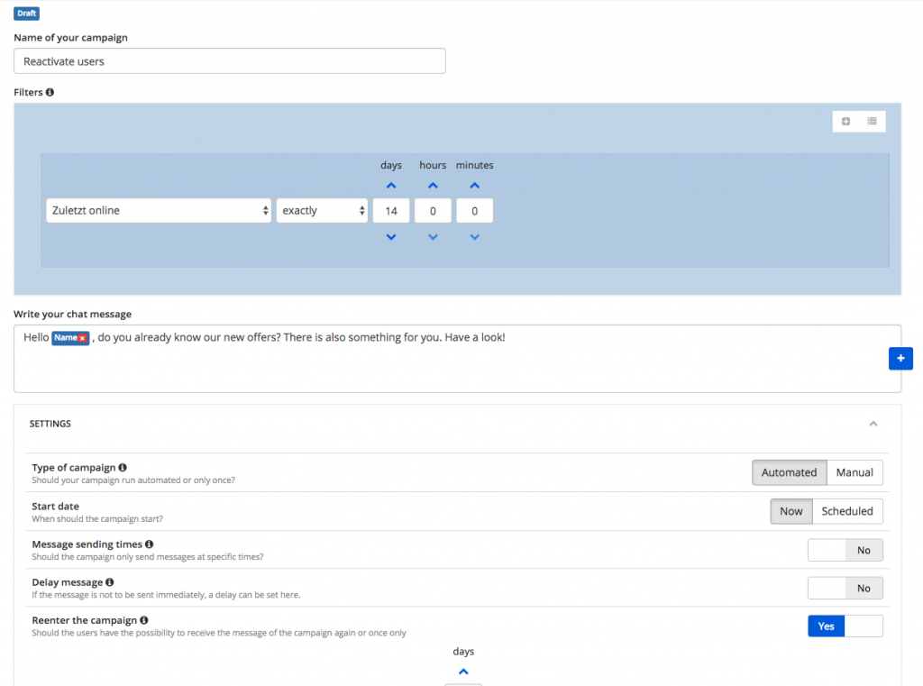 Using or adjusting the chat message in the template of the marketing automation