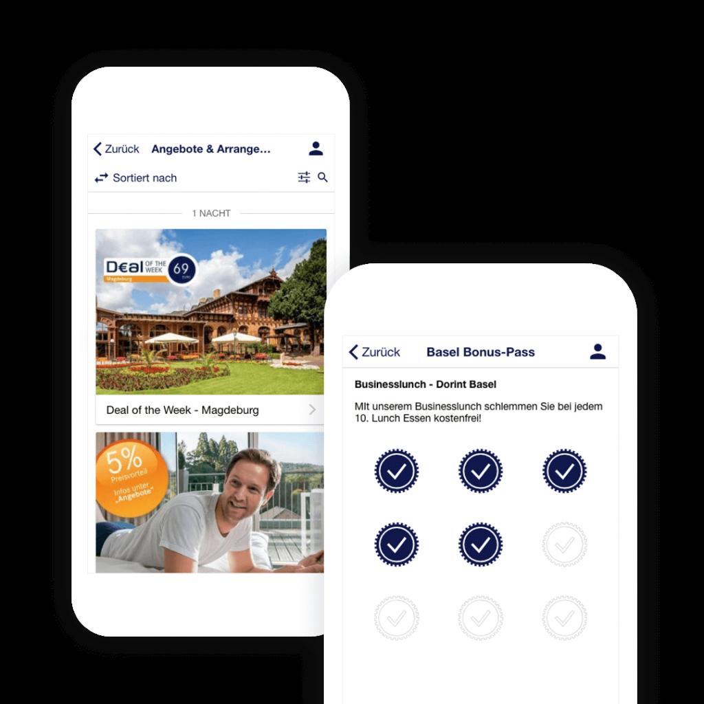 Eigene Hotelbuchung App mit Angeboten, Arrangements und der Stempelkarte von Dorint