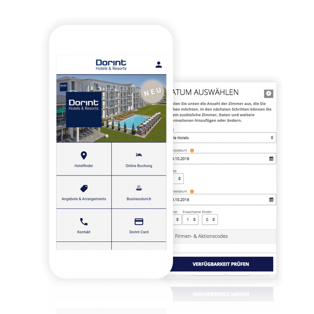 Booking room online via own hotel booking app from Dorint Hotels & Resorts