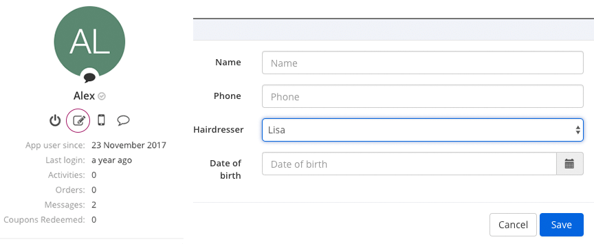 Editing the user information directly in the app profile