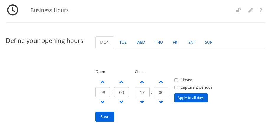Add your business hours to your app