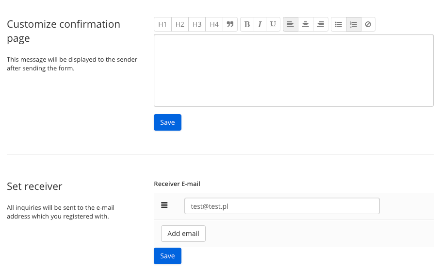 Set up the forms module