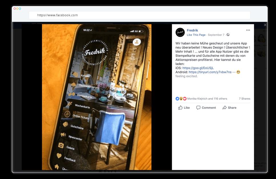 Reservierungs App auf Facebook promoten