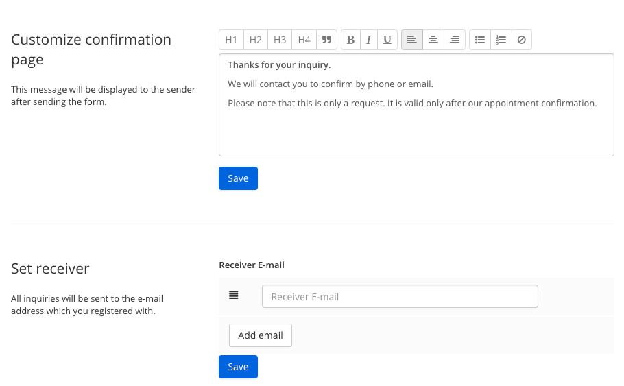 Setup of the appointment module