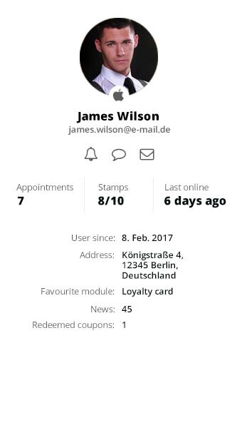 The user profile inside the dashboard