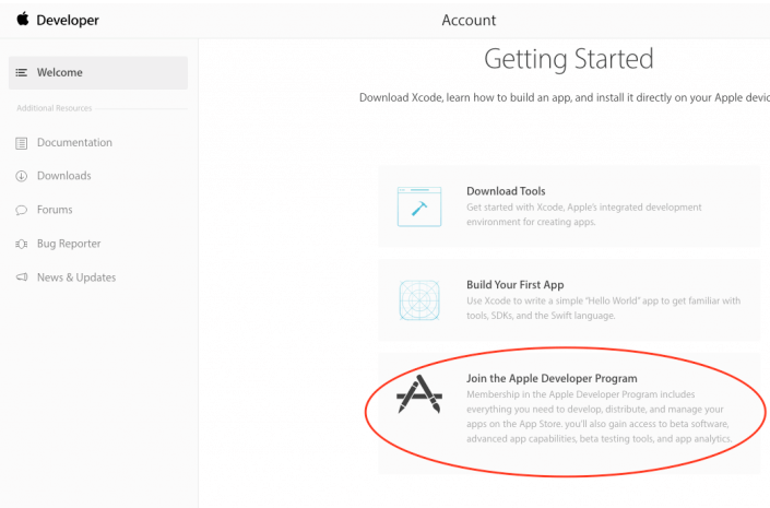 Getting started for creating the developer account