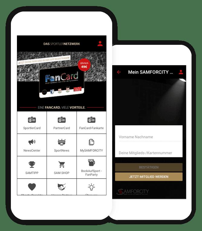 Das App Customizing von Samforcity: Die FanCard