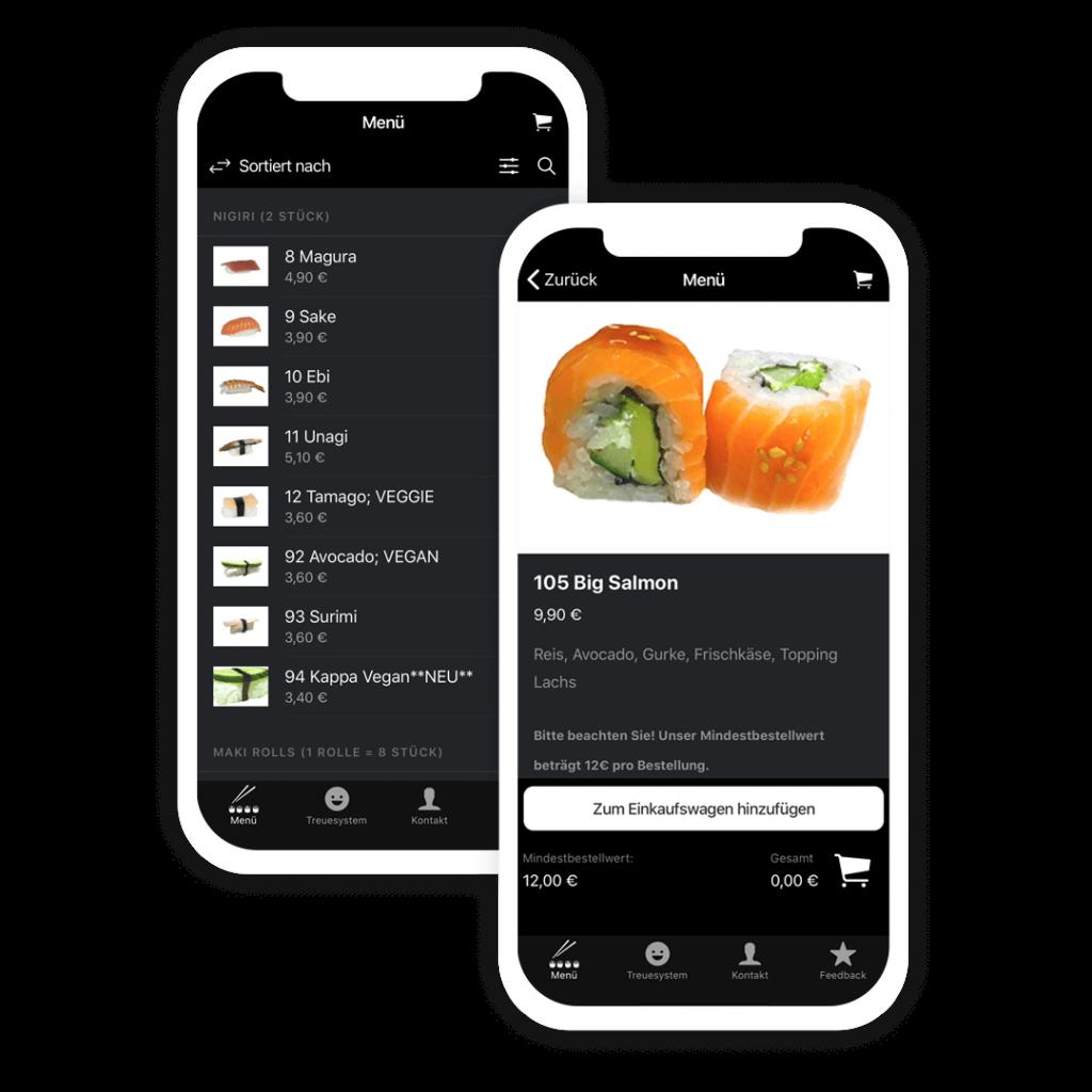 Beispiel Apps für eine Lieferservice App