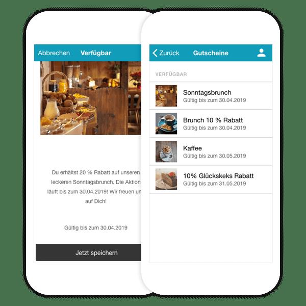 Alle Gutscheine sind im App Profil Deiner Gäste in der Gutschein App vermerkt