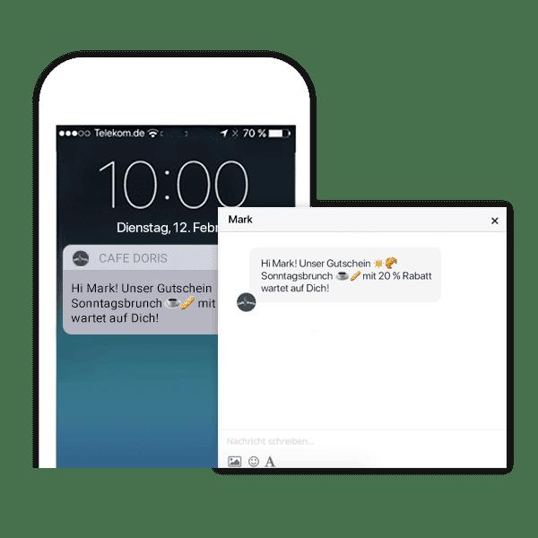 Gutscheine einfach per Push Nachricht über Deine Gutschein App verbreiten