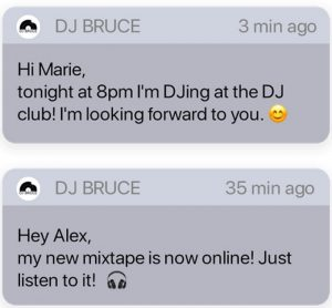 Your own DJ app allows you to send push notifications to your fans