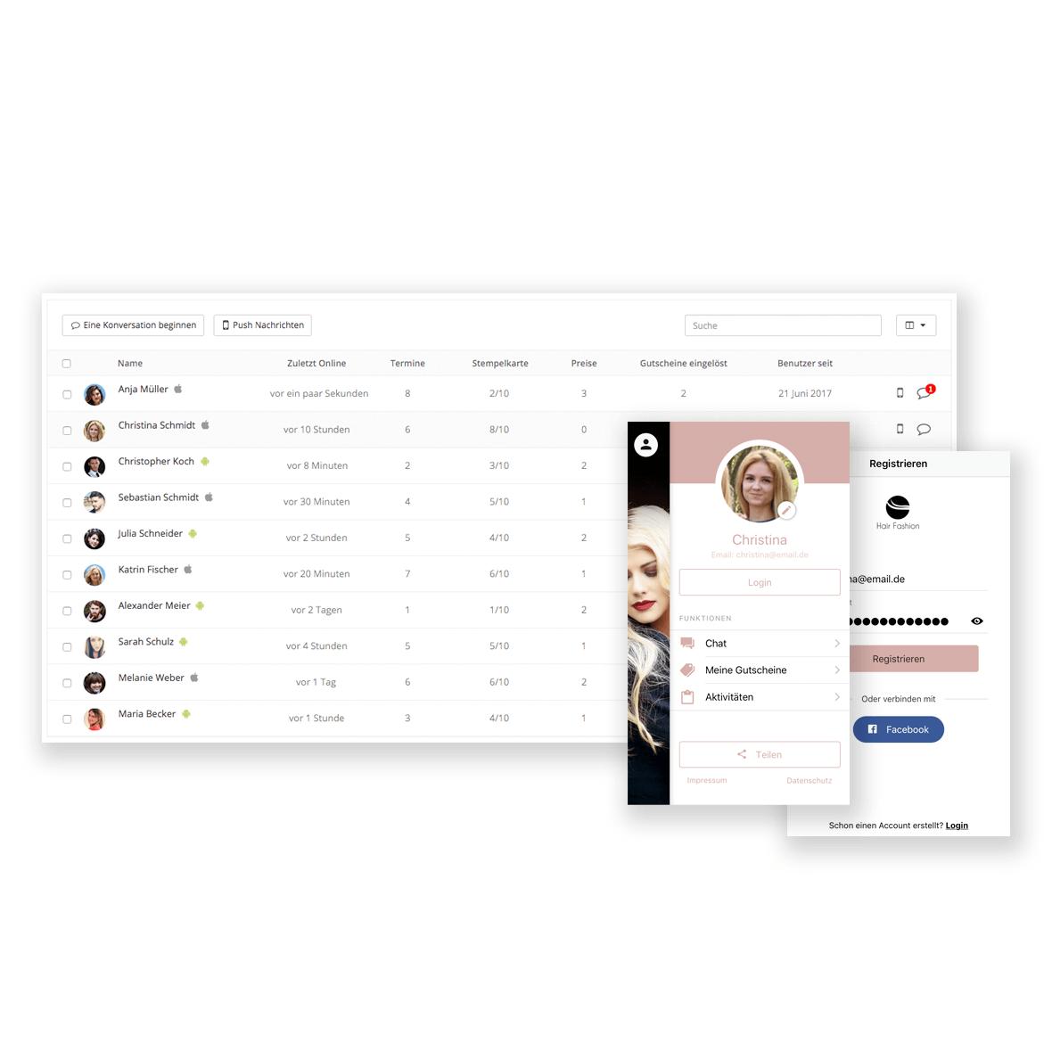 Nutzermanagement und Nutzerprofile in der App Plattform von AppYourself