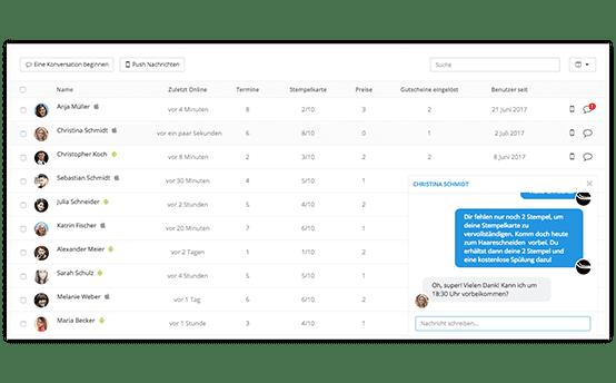 Nutzermanagement mit integriertem Messenger in der App Plattform