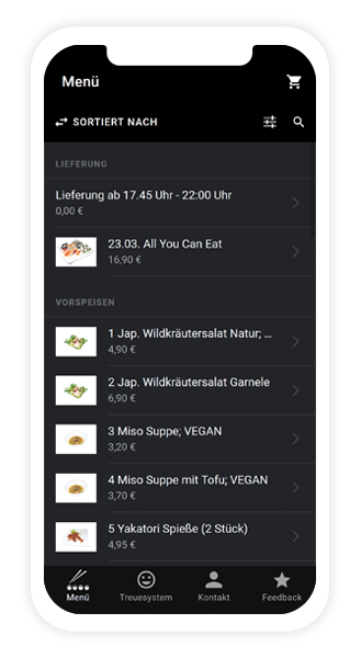 Die Lieferservice App von Sushi King