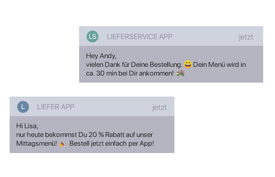 Push Nachrichten über die Lieferservice App verschicken