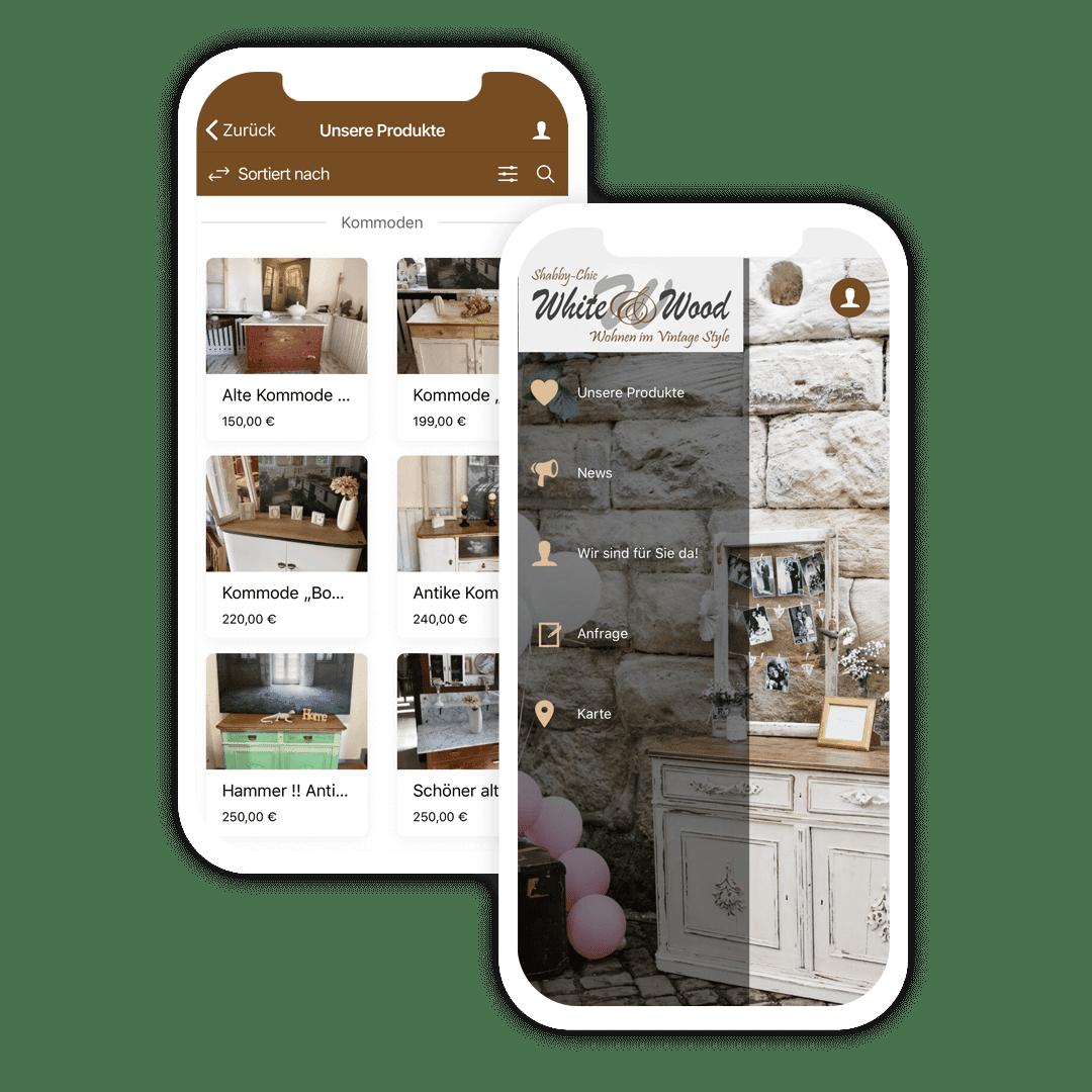 Die Shop App von White & Wood