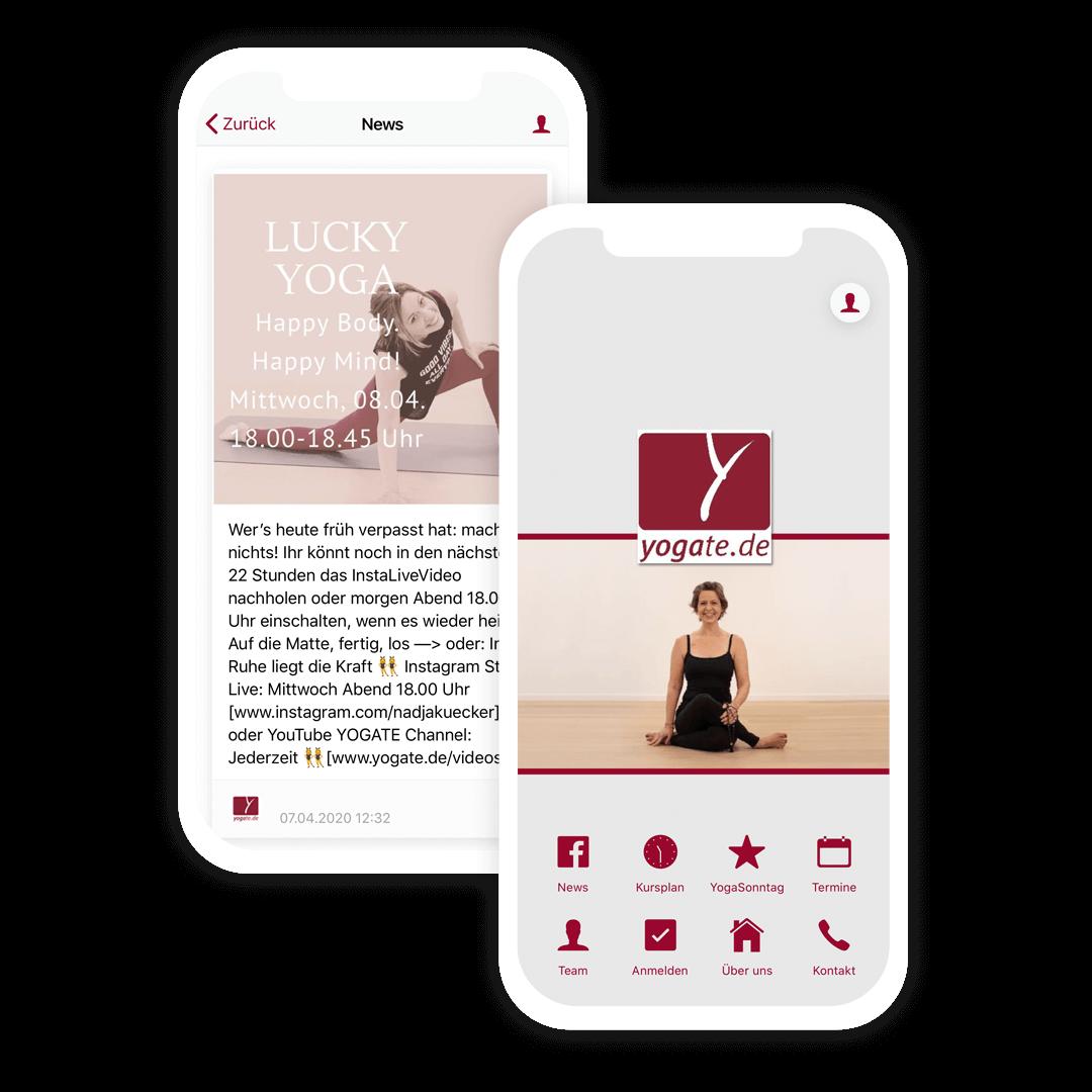 Die Yoga App des Yogate Yogastudios