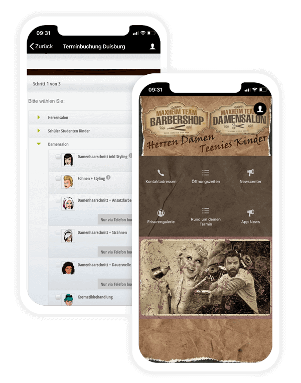 Appointment booking app by barber shop Maxheim