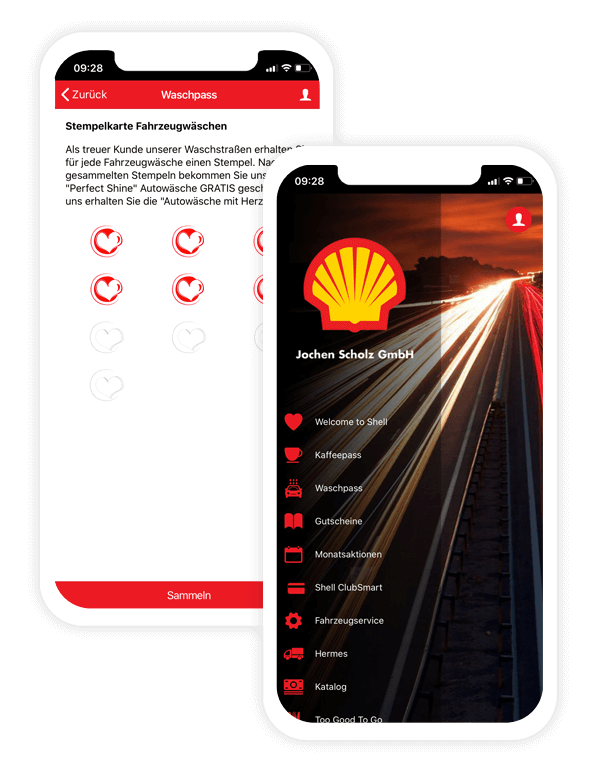 Stamp card app of Shell Scholz