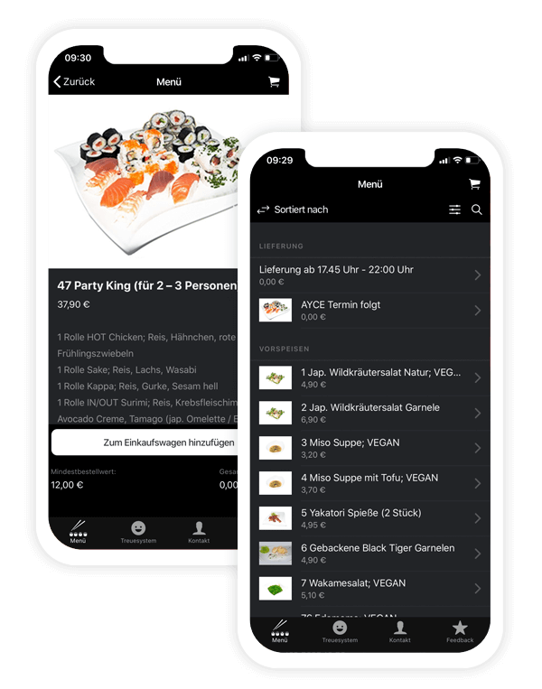 Delivery service app of Sushi King