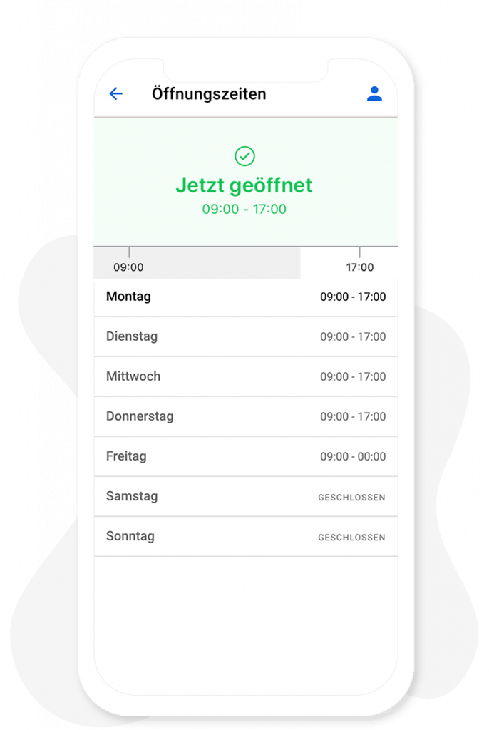 Öffnungszeiten Modul vom App Baukasten