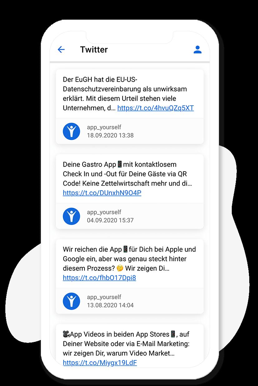Das Twitter Modul im App Baukasten