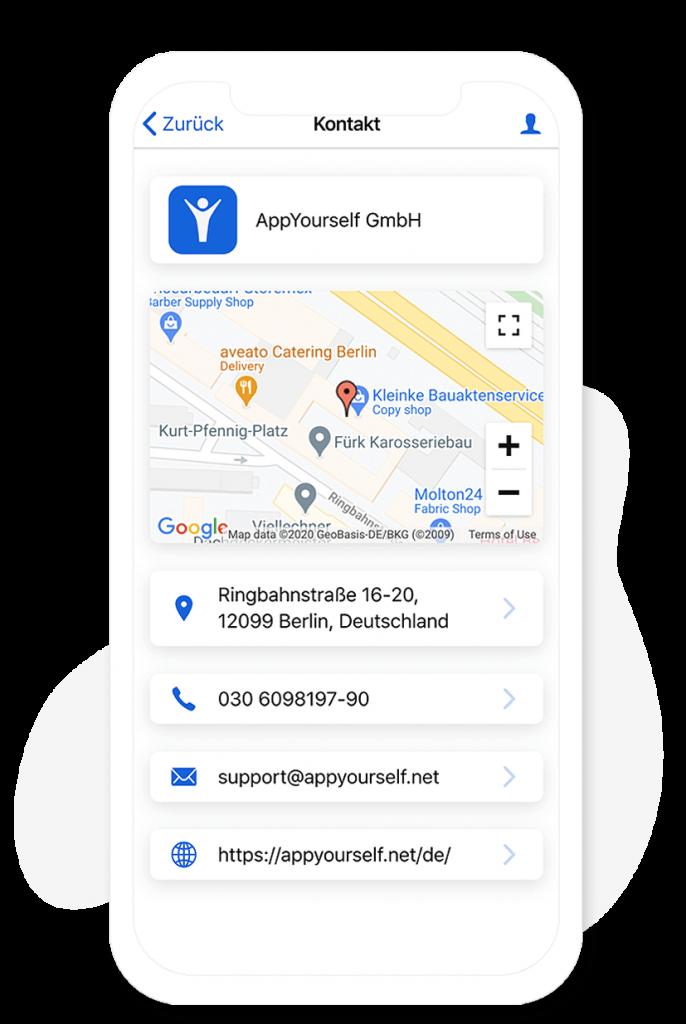 Das Kontakt Modul im App Baukasten