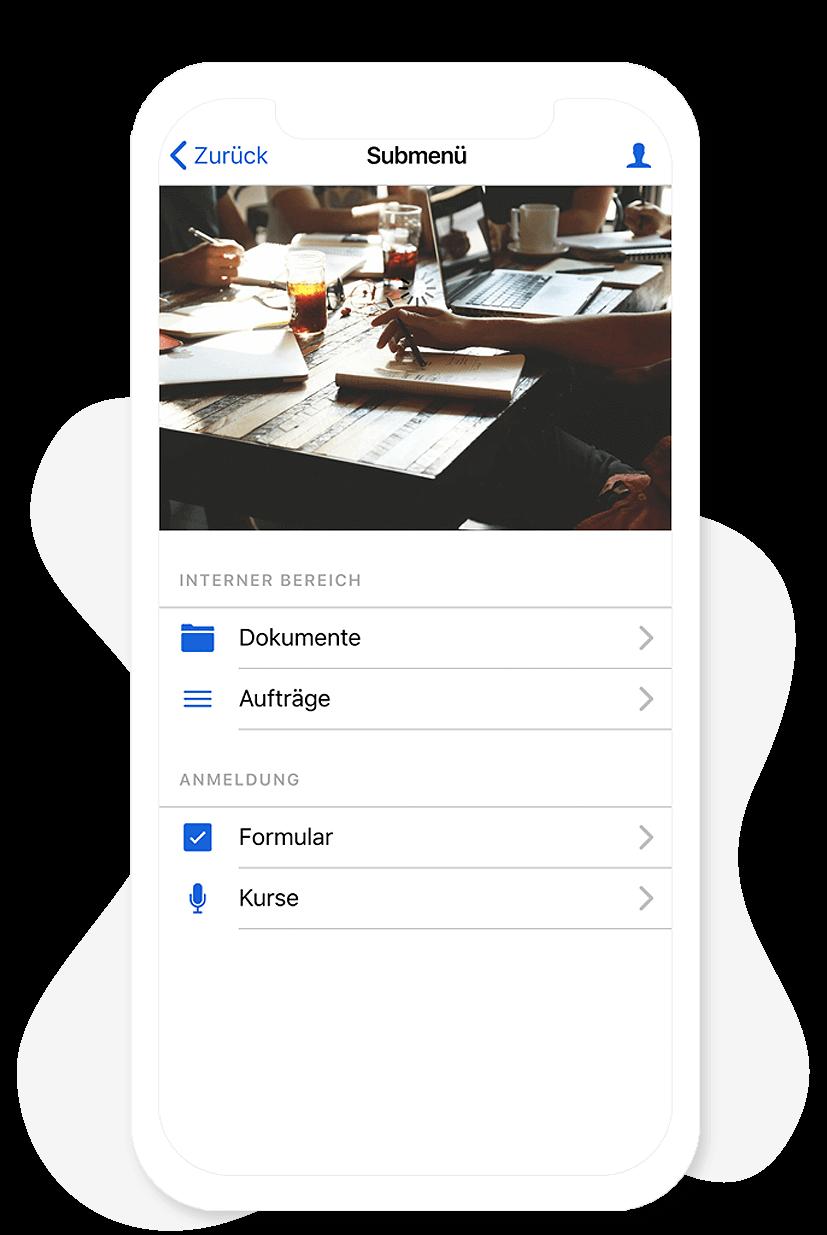 Das Submenü Modul im App Baukasten