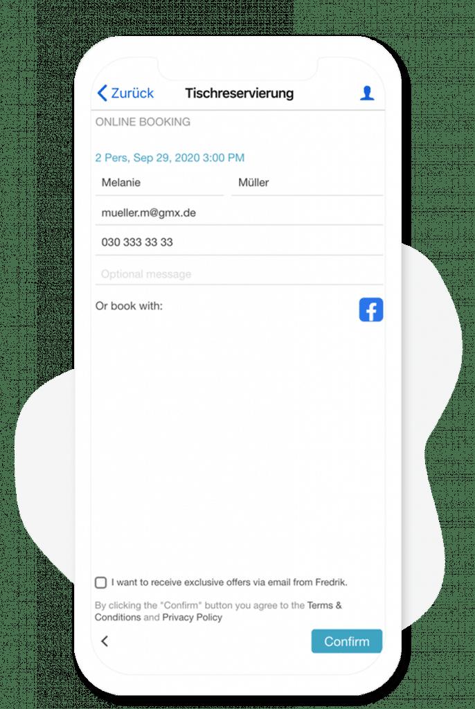 Tischreservierungsmodul vom App Baukasten