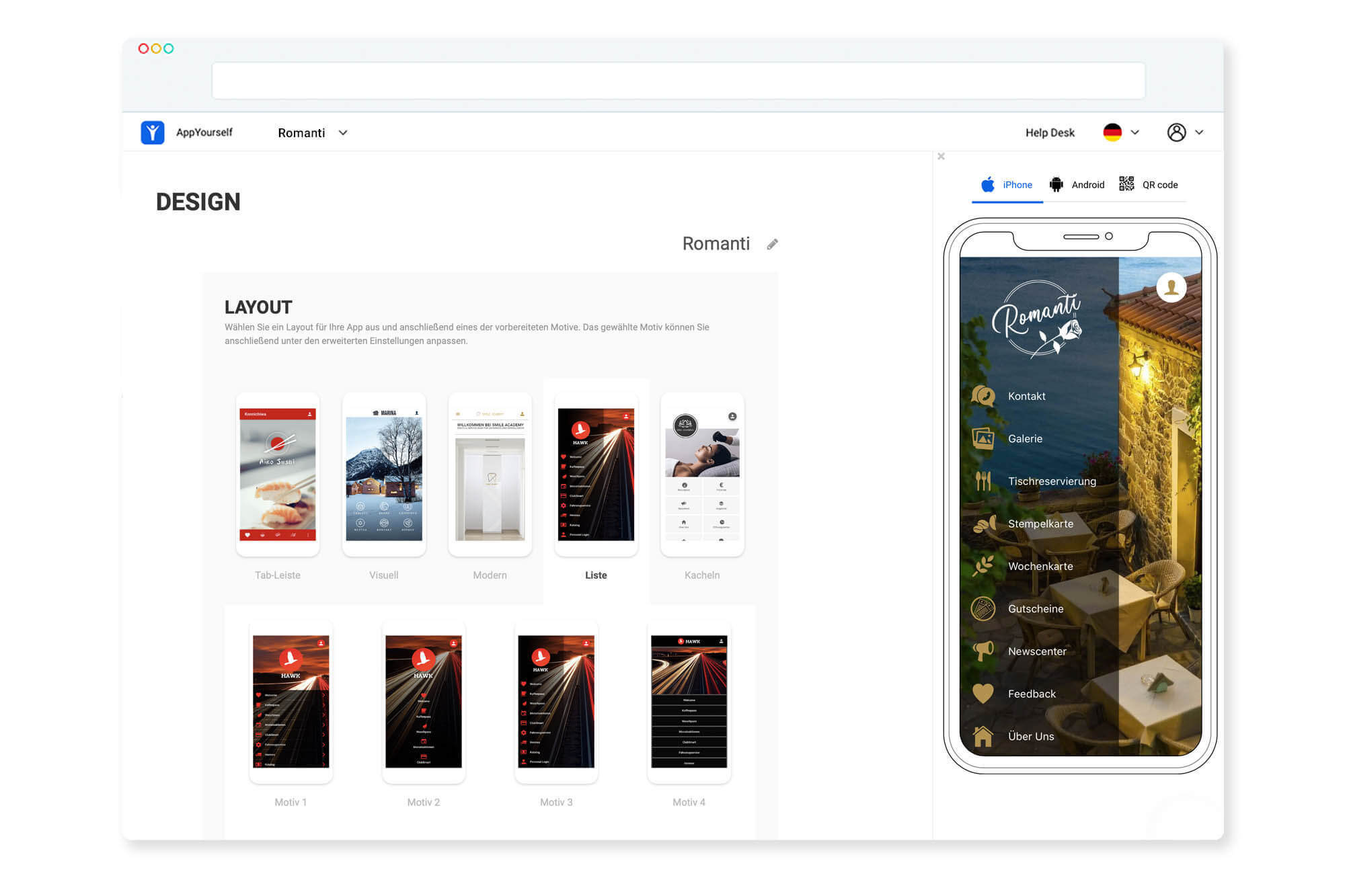 Das Dashboard des App Baukasten zum Erstellen Deiner App