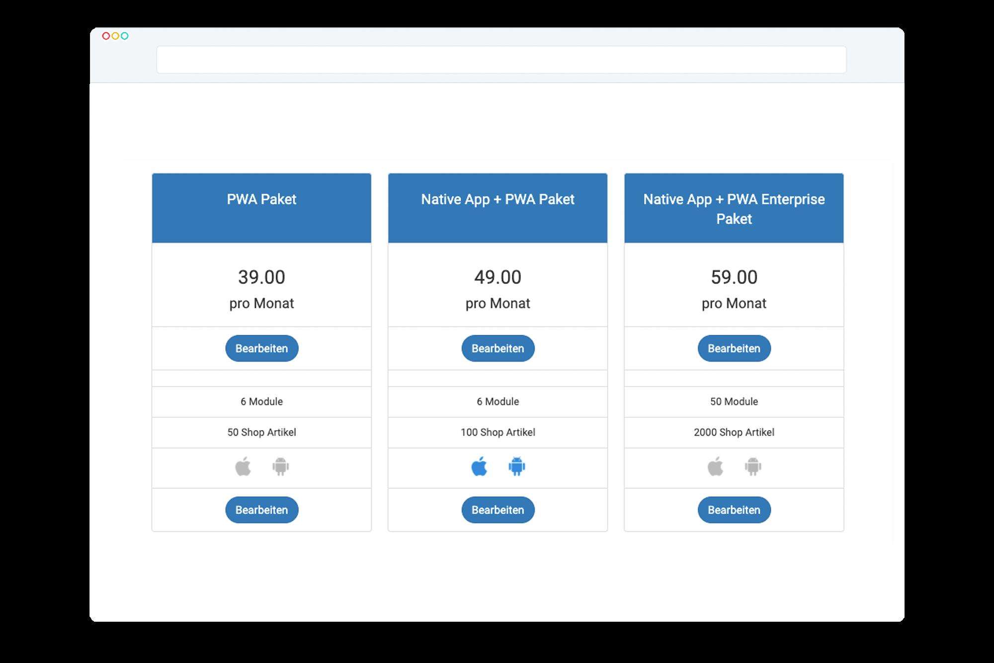 Pakete konfigurieren auf der Reseller App Plattform