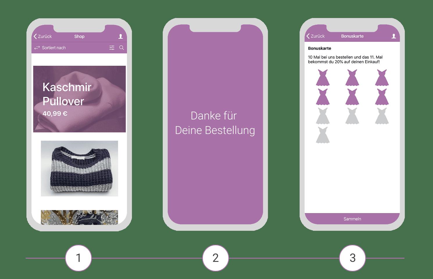 Die digitale Stempelkarte kombiniert mit dem Shop Modul Deiner Retail App