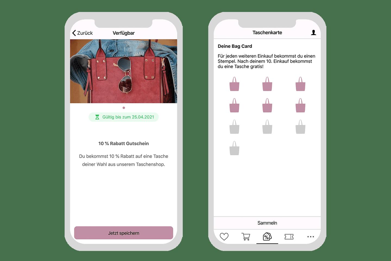Shopping App mit Gutscheinen und Stempelkarte verbinden