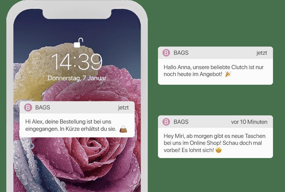 Angebote und Infos per Push Nachrichten in der Shopping App verbreiten