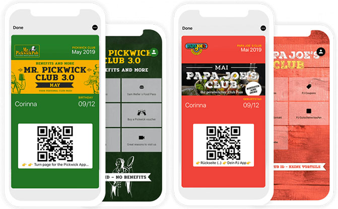 The digital members club as wallet cards for Papa Joe's and Mr. Pickwick