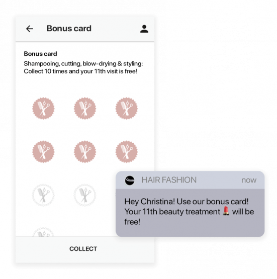 Combine the stamp card with your own appointment app